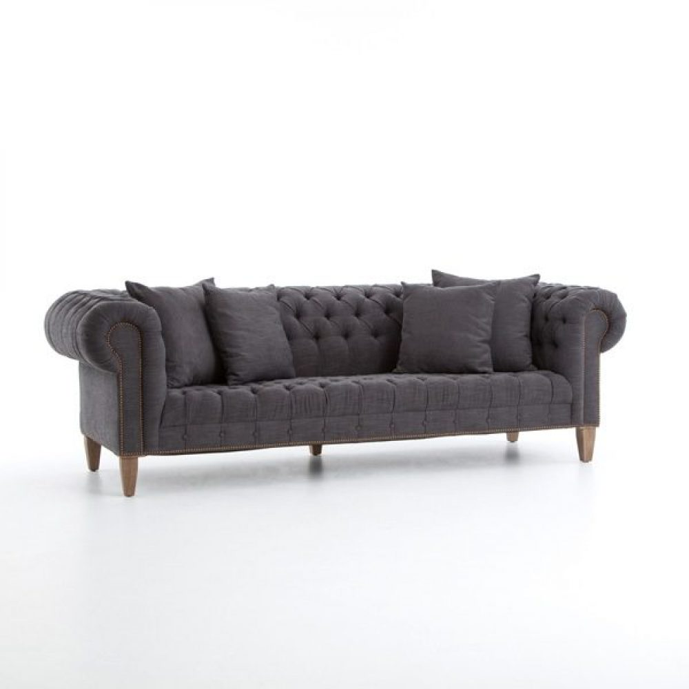 Chester Tufted Sofa, Charcoal Fabric Uphostery