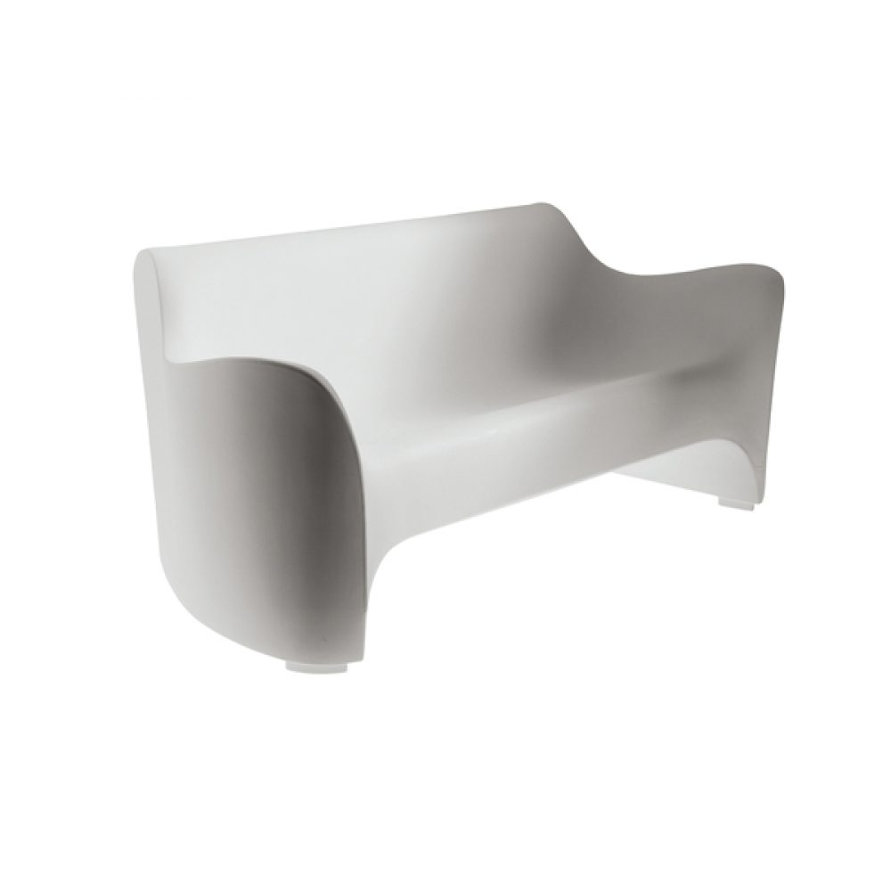 Outdoor Sofa White Molded Plastic